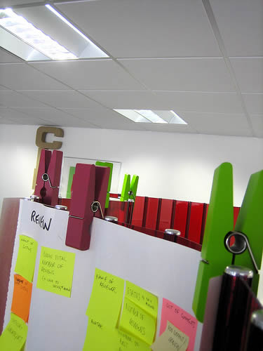 Clothes pegs and post-its