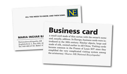 dictionary business card