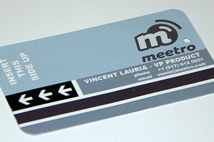 metro ticket business card